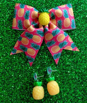 Image of Pineapple Tropical Paradise Hair Bow - Hot Pink