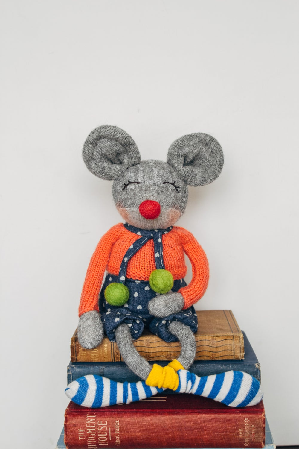 Image of Millie - Wool filled Weighted Sculpted Sock Mouse with knit sweater and removable romper
