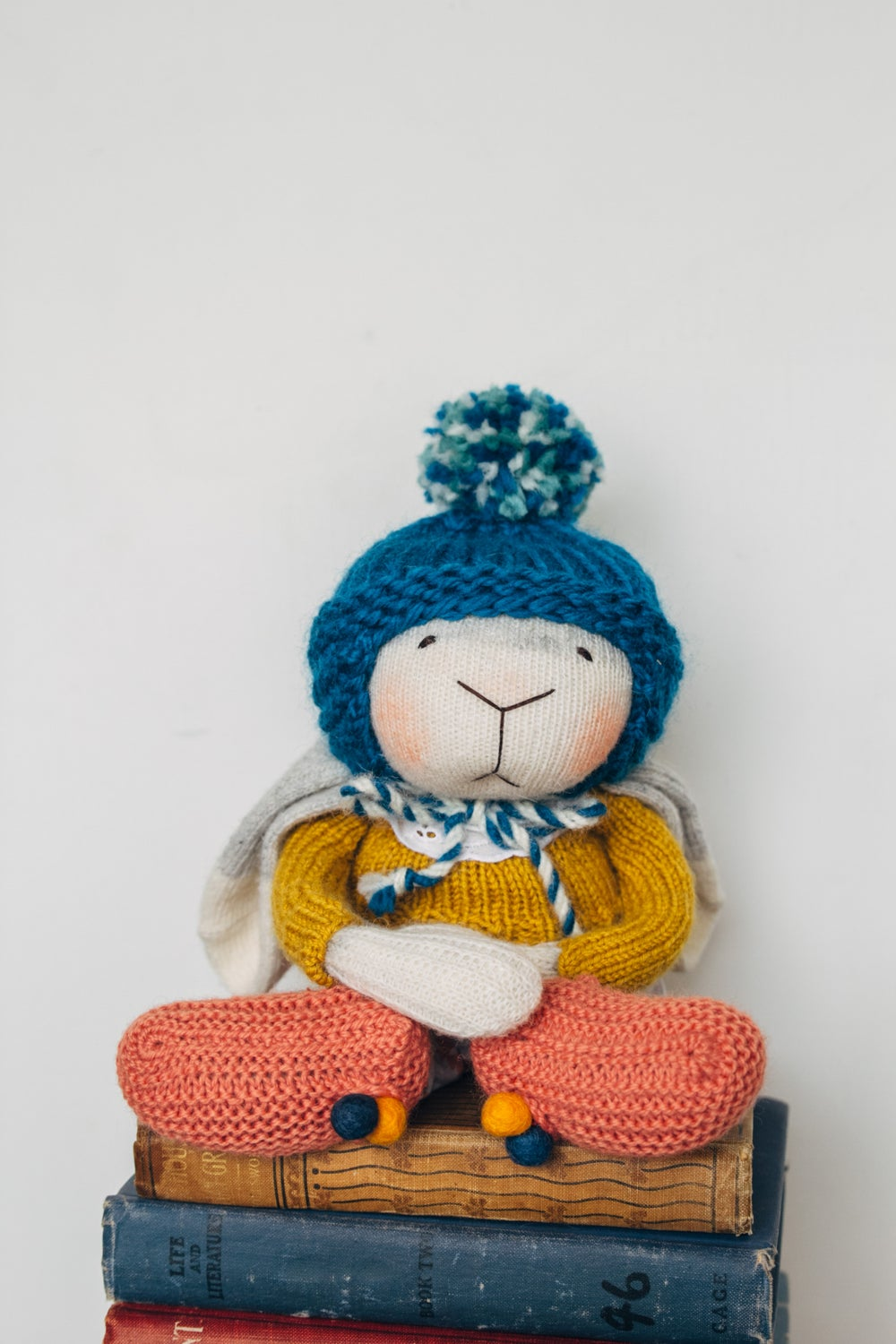Image of Agnes - Wool Filled  Weighted Sculpted Sock Bunny with removable romper and hat