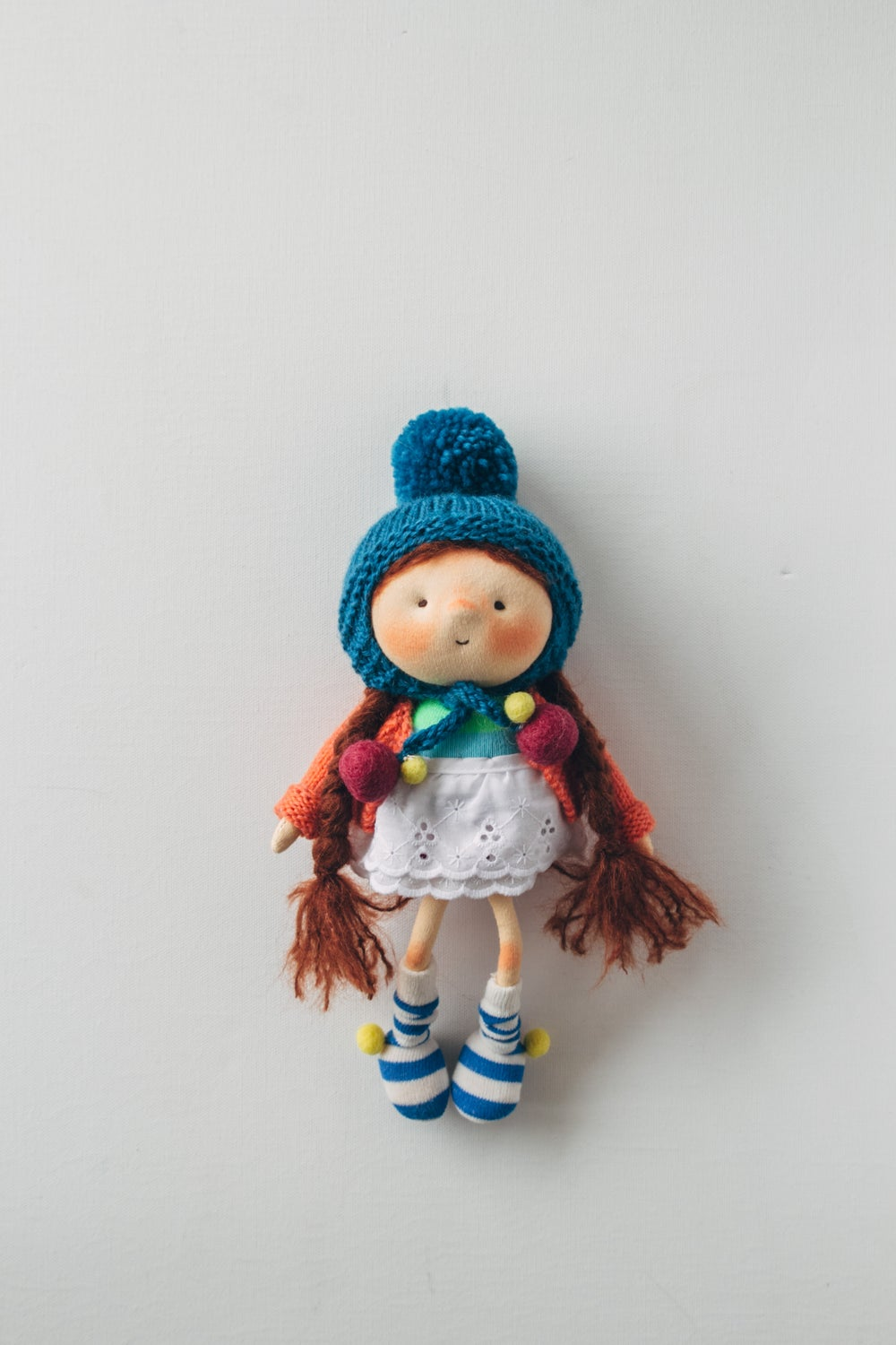 Image of FeeFee Fluff - Wool filled Weighted waldorf inspired Sculpted Sock Doll