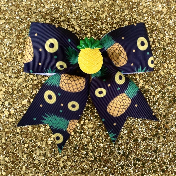 Image of Pineapple Tropical Explosive Delight Hair Bow - Black
