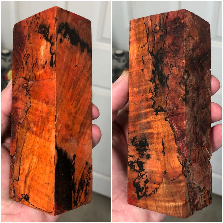 "Image of Stabilized Figured Spalted Maple Block 1-5/8"" x 2"" x 5-3/4"""
