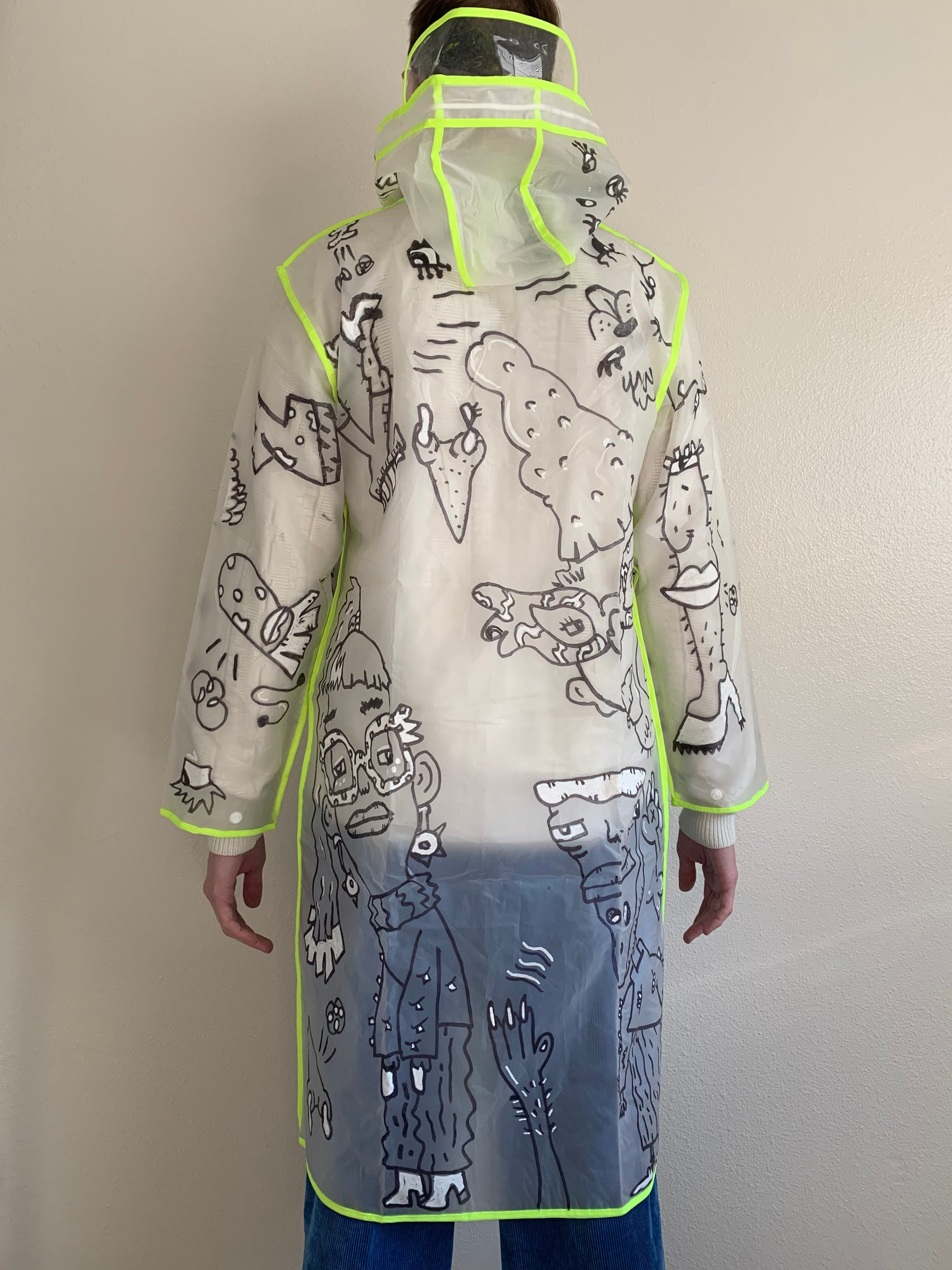 Image of 🌧 CLEARANCE 75% OFF! Hand-Doodled Neon Accent Sheer Rain Jacket