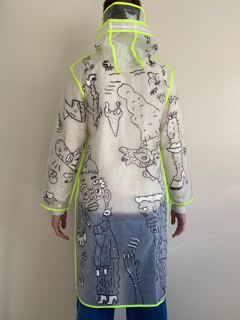 Image of Hand-Doodled Neon Accent Sheer Rain Jacket