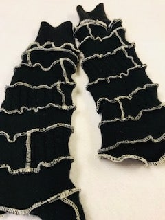 Image of 100% Cashmere Fingerless Gloves in Black and White (Classic!)