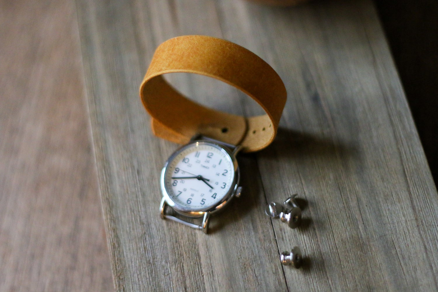 Image of Button Stud Watch Strap in Yellow Pueblo