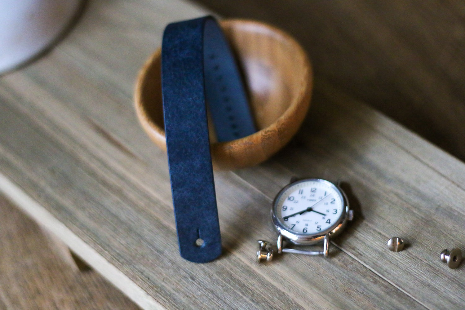 Image of Button Stud Watch Strap in Navy Pueblo