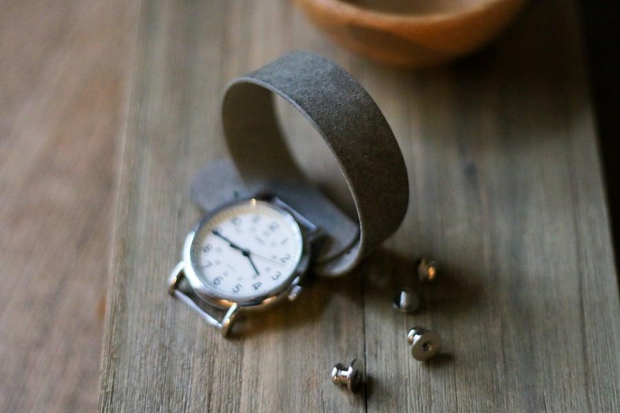 Image of Button Stud Watch Strap in Grey Pueblo