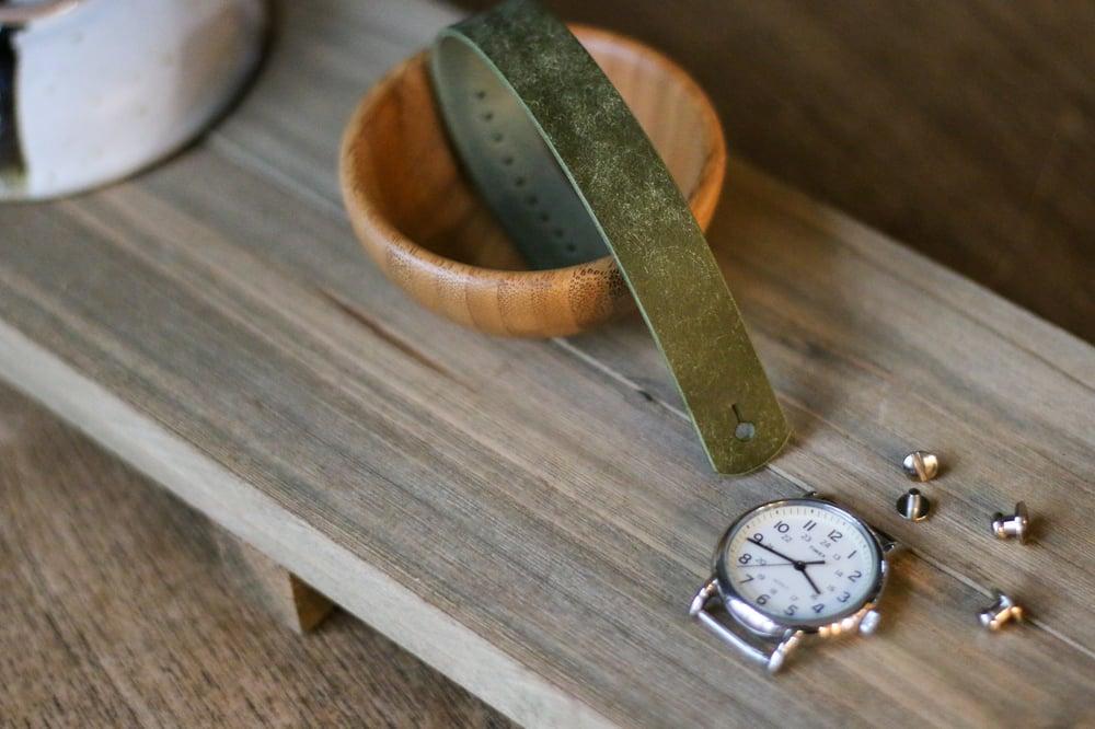 Image of Button Stud Watch Strap in Olive Pueblo