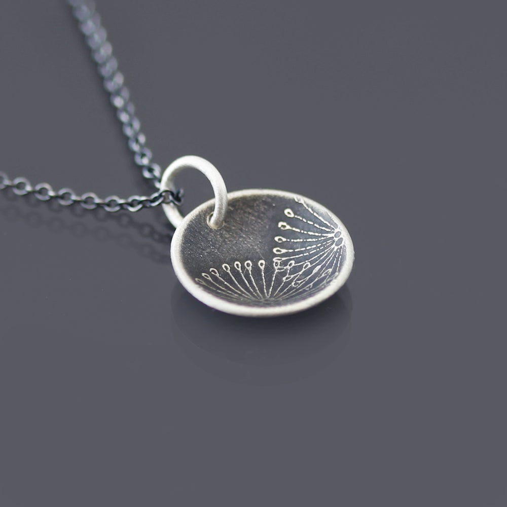 Image of Sterling Silver Patterned Seed Pod Necklace