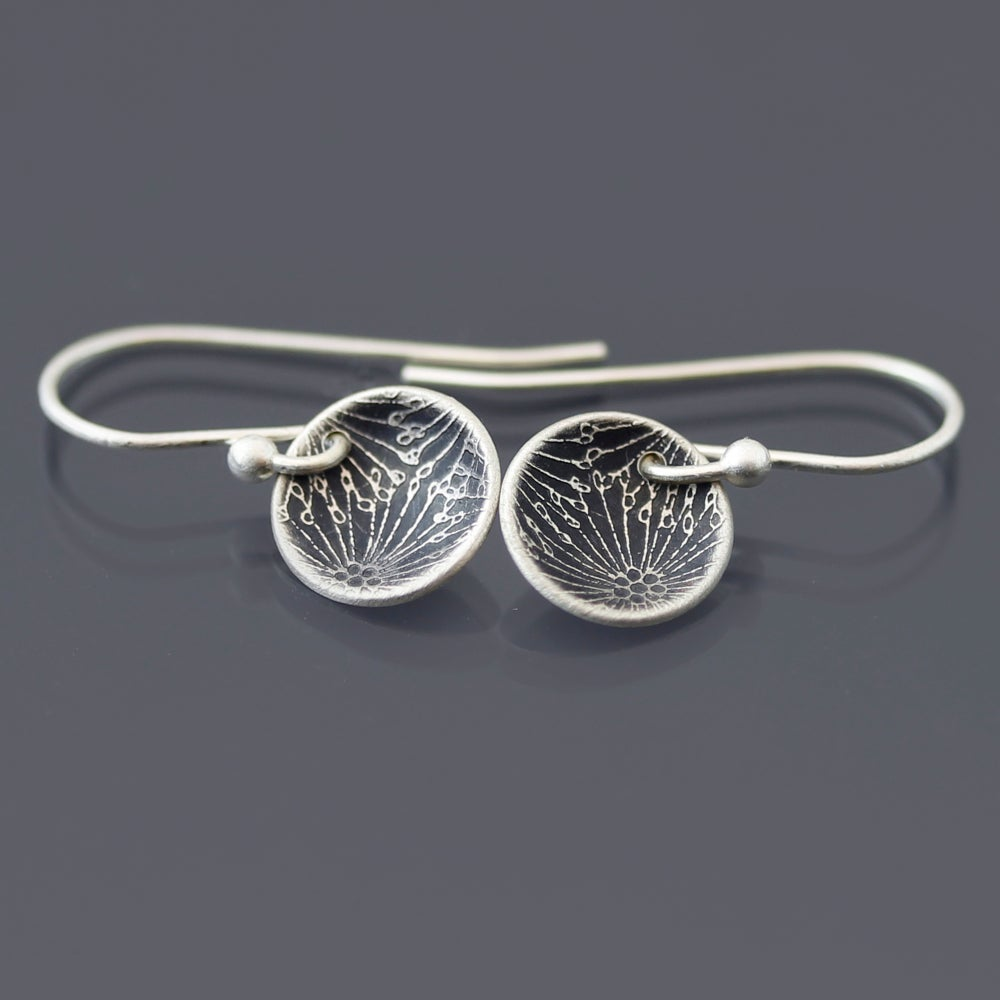 Image of Tiny Sterling Silver Patterned Seed Pod Earrings