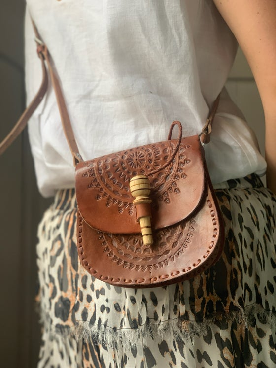 Image of Small Leather Saddle Bag