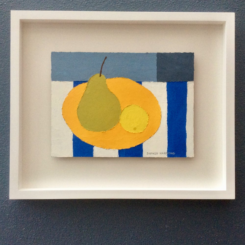 Image of Pear and Lemon on Blue Stripe