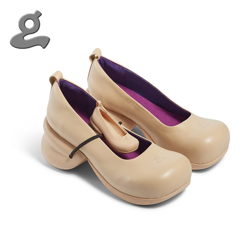 """Image of Round Toe Sheepskin Platforms with Babyshoe in Sandy""""Pregnant"""""""