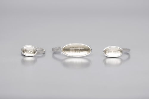 """Image of """"Winds are driving the clouds.."""" silver rings with rock crystals · VERRUNT VENTI NUBILA CAELI ·"""