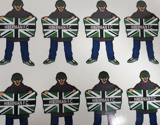Image of Hibs, Hibernian, Casual holding flag, pack of 10 9cm stickers