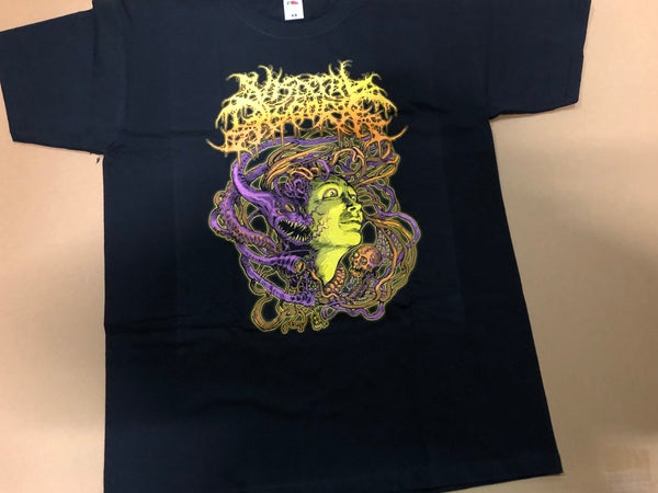 Image of VISCERAL DISGORGE - Slithering Evisecration yellow T-Shirt