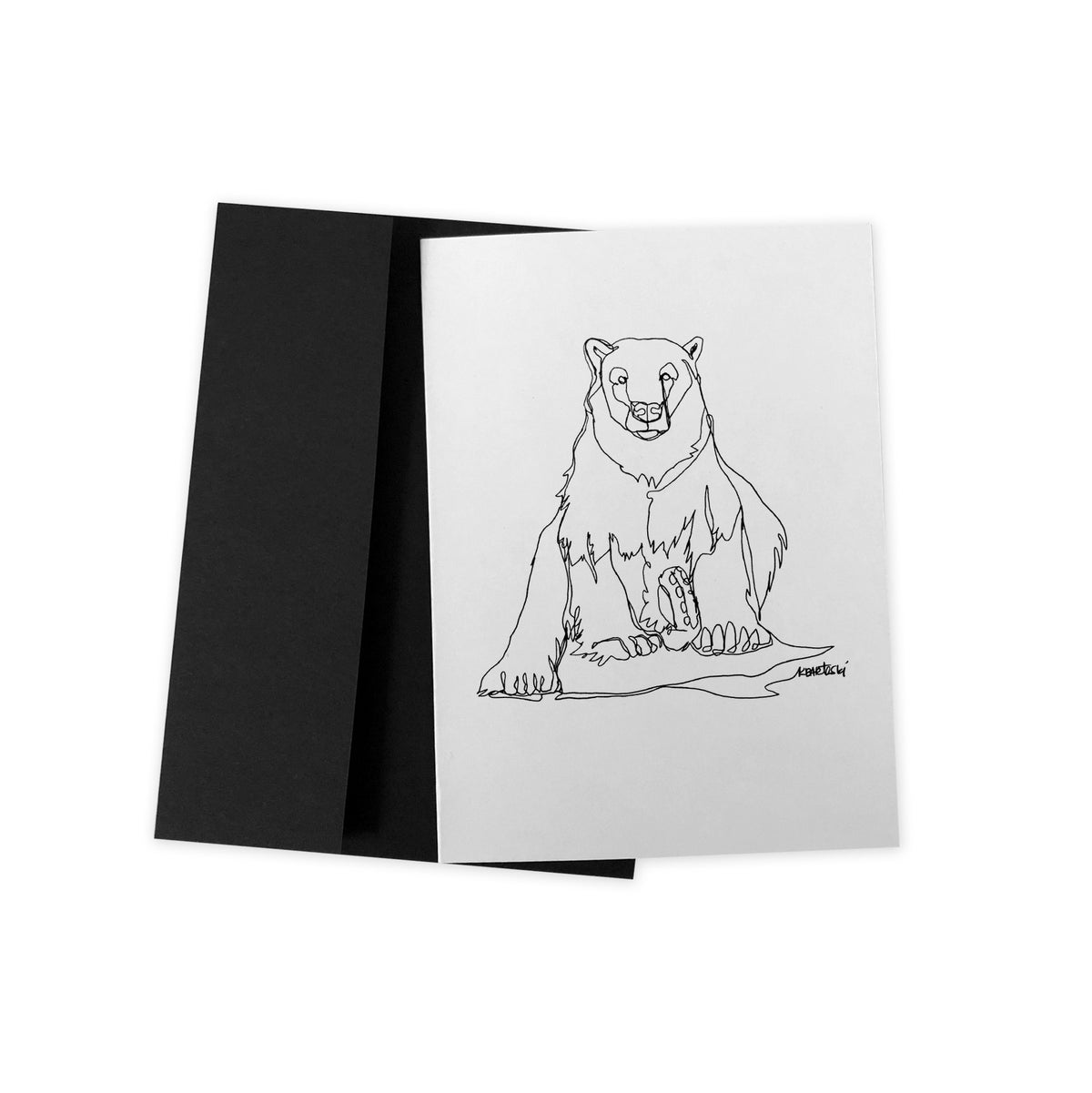 Image of Polar bear LINE DRAWING greeting card