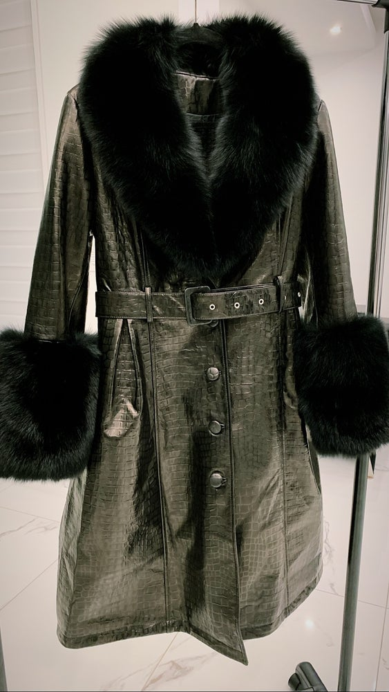Image of Croc Leather X Fox Fur Trench