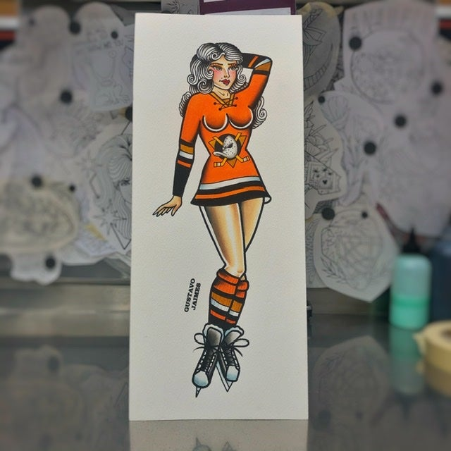 Image of Anaheim PinUp 6x14 original painting