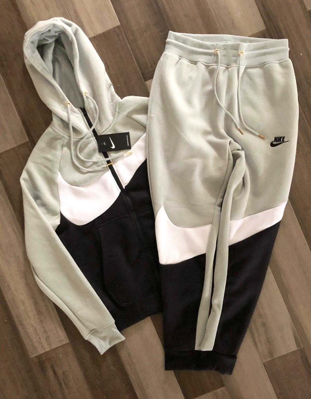 Men's Nike Swoosh Zip Up Hoodie Sweatpants Set Grey