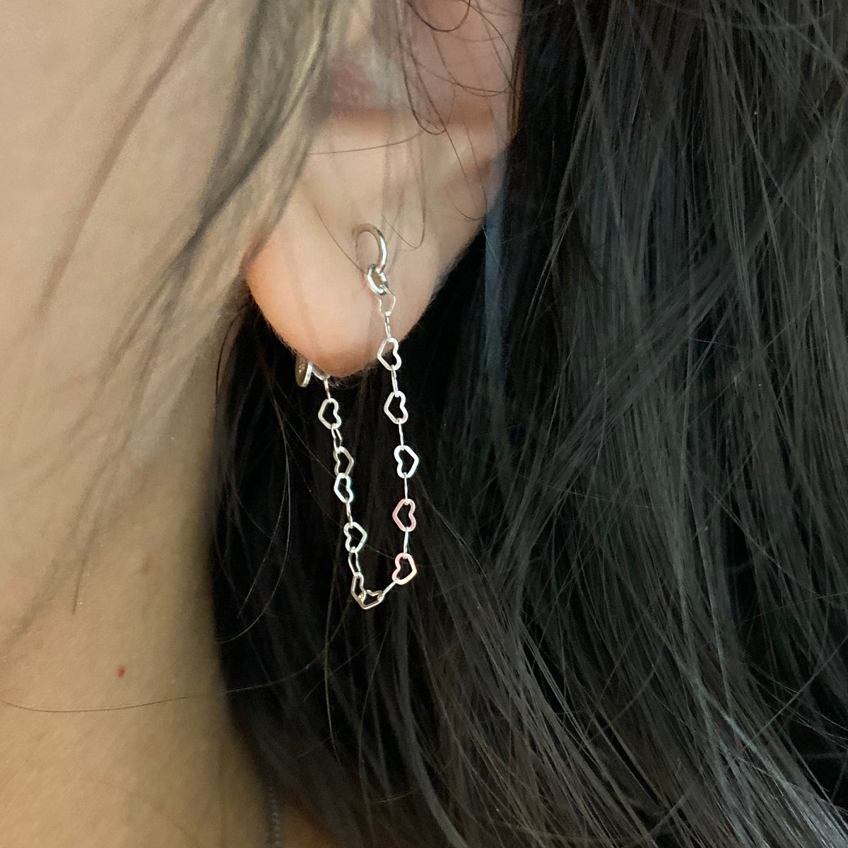 Image of Single Heart chain earring