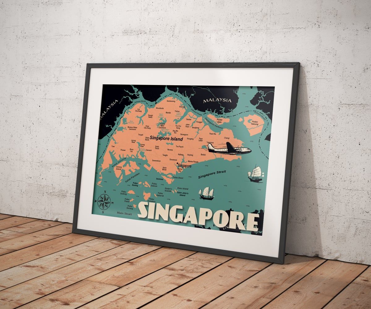 Image of Vintage poster Singapore Map - Fine Art Print