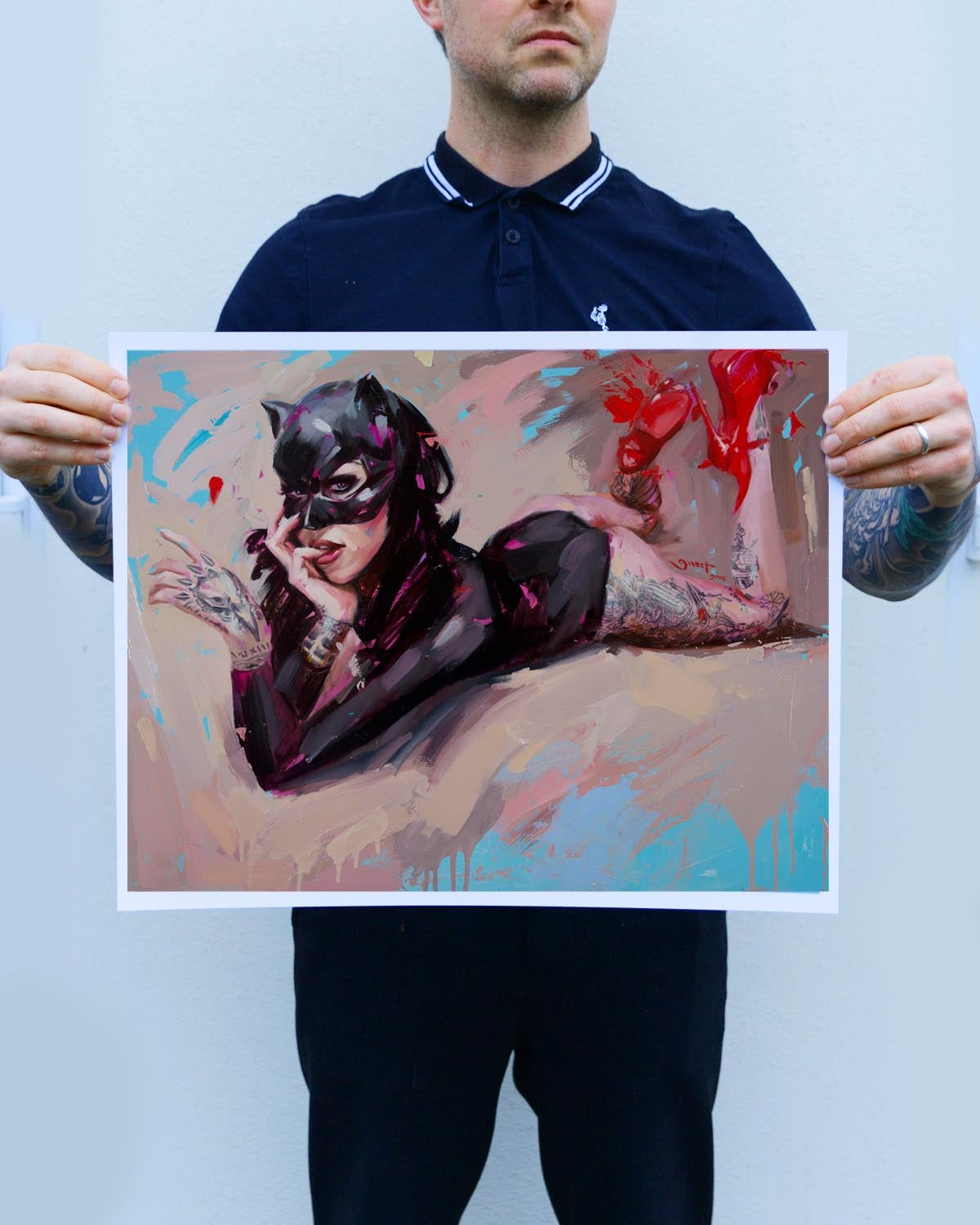 Image of Open Edition 'BLACK MASK w/ RED SHOES' Lithograph Print.