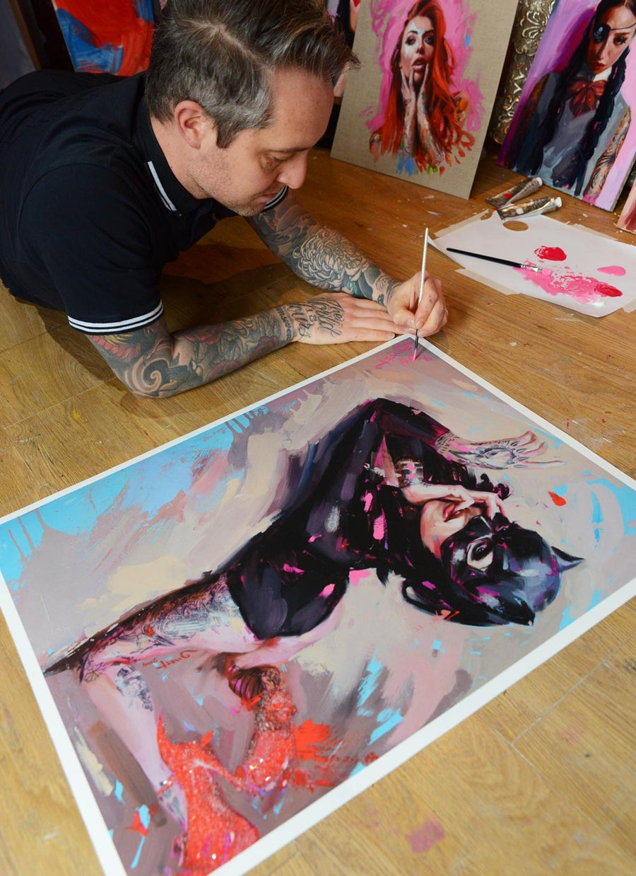 Image of Extremely Limited DIAMOND DUST Hand Embellished 'BLACK MASK w/ RED SHOES' Giclee Print