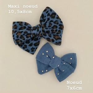Image of Barrette double gaze de coton léopard bleu