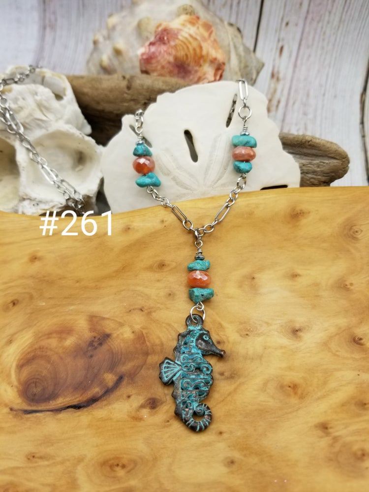 Image of Sea Glass- Turquoise- Agate- Necklace- #261