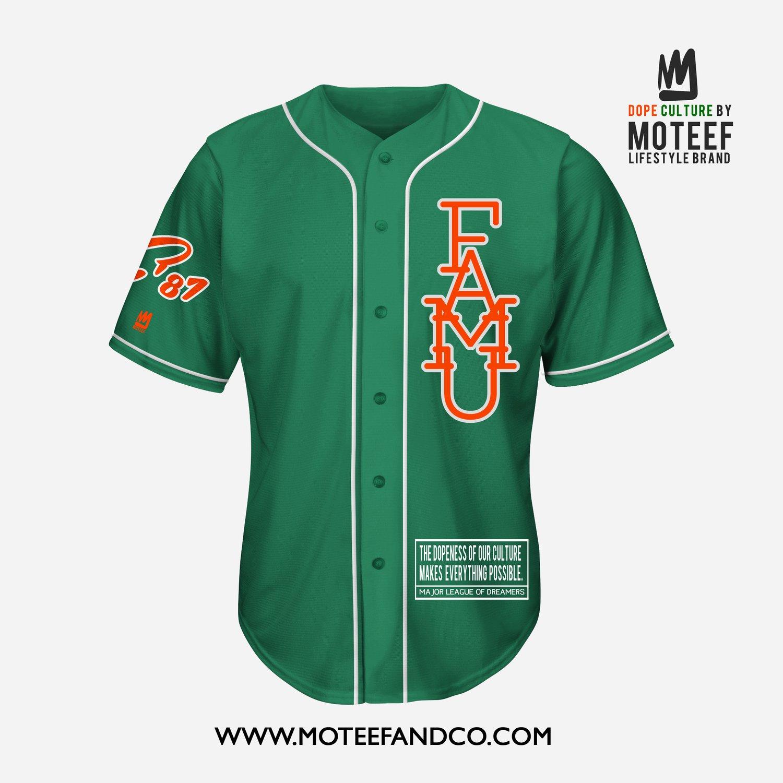 Image of FAMU State Of Mind Baseball Jersey GREEN