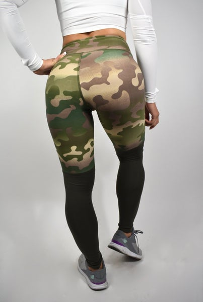Image of  TWO TONE LEGGINGS CAMO GREEN