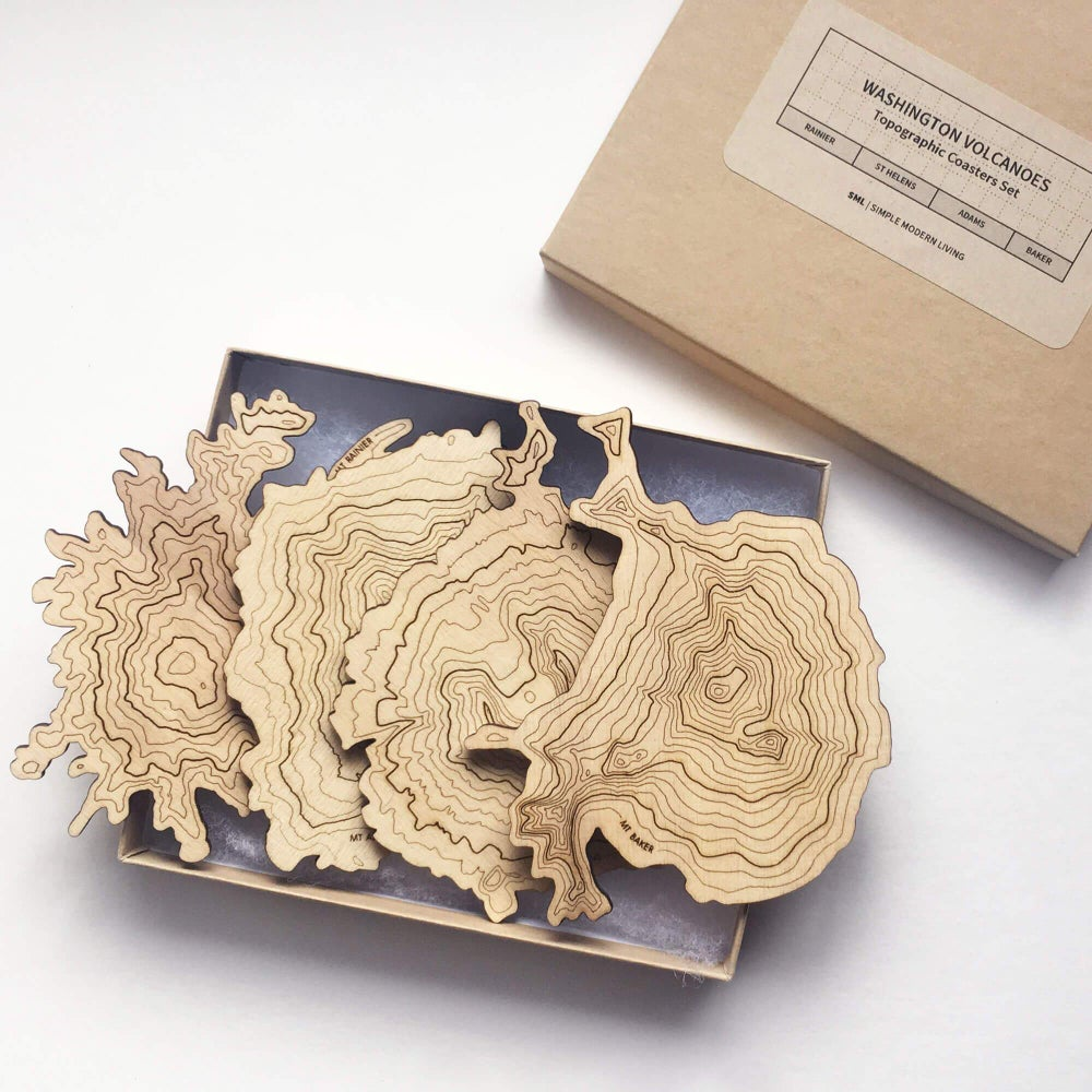 Image of Washington Volcanoes Topographic Coasters