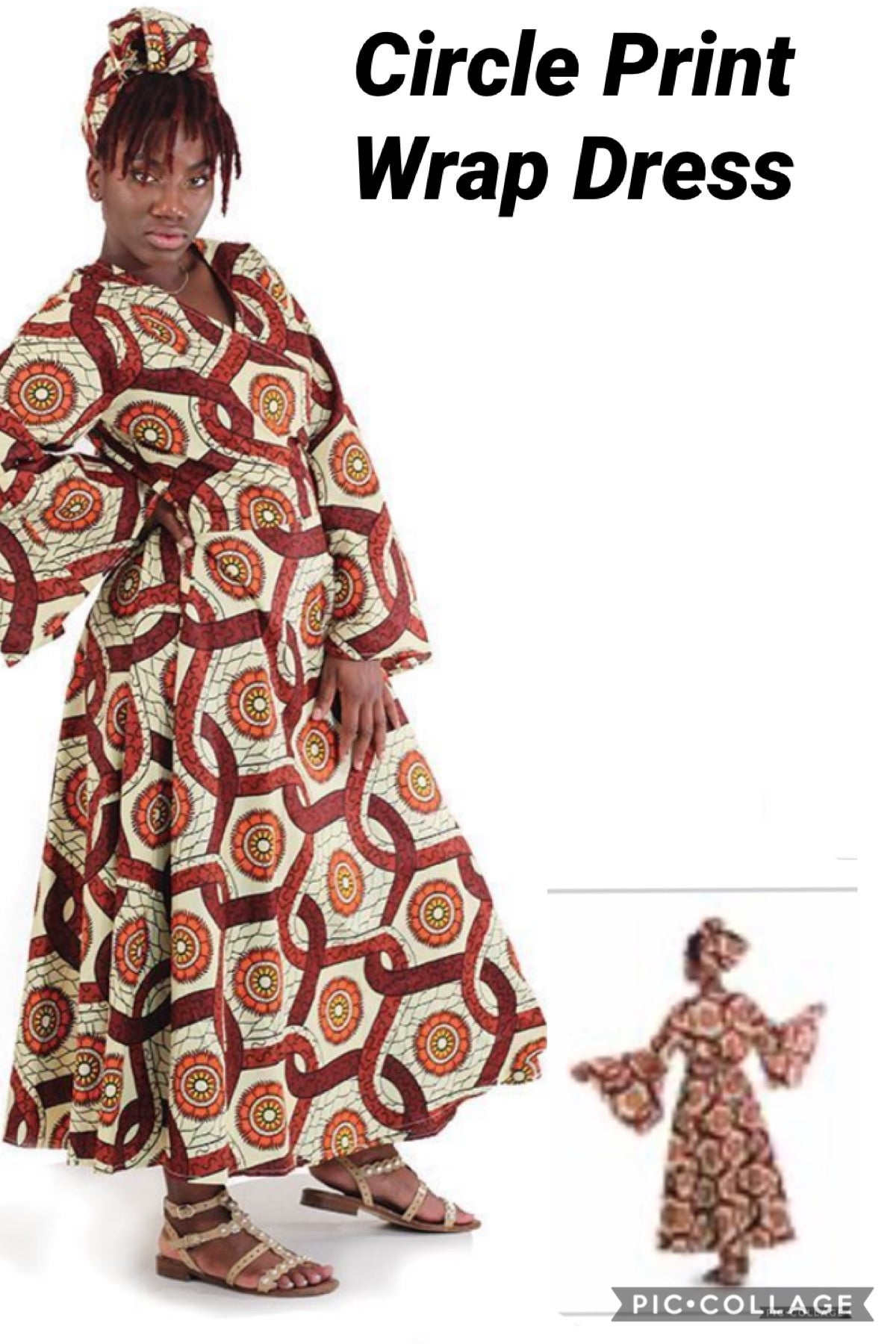 Image of Circle Print Wrap Dress