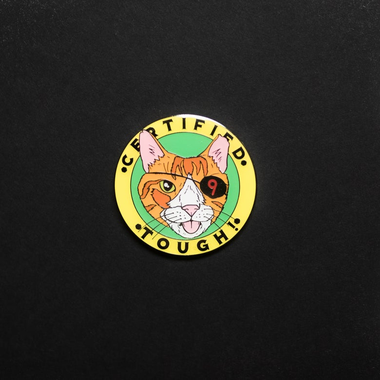 Image of 'Certified Tough' Pin : @bobmotown x Cat Man