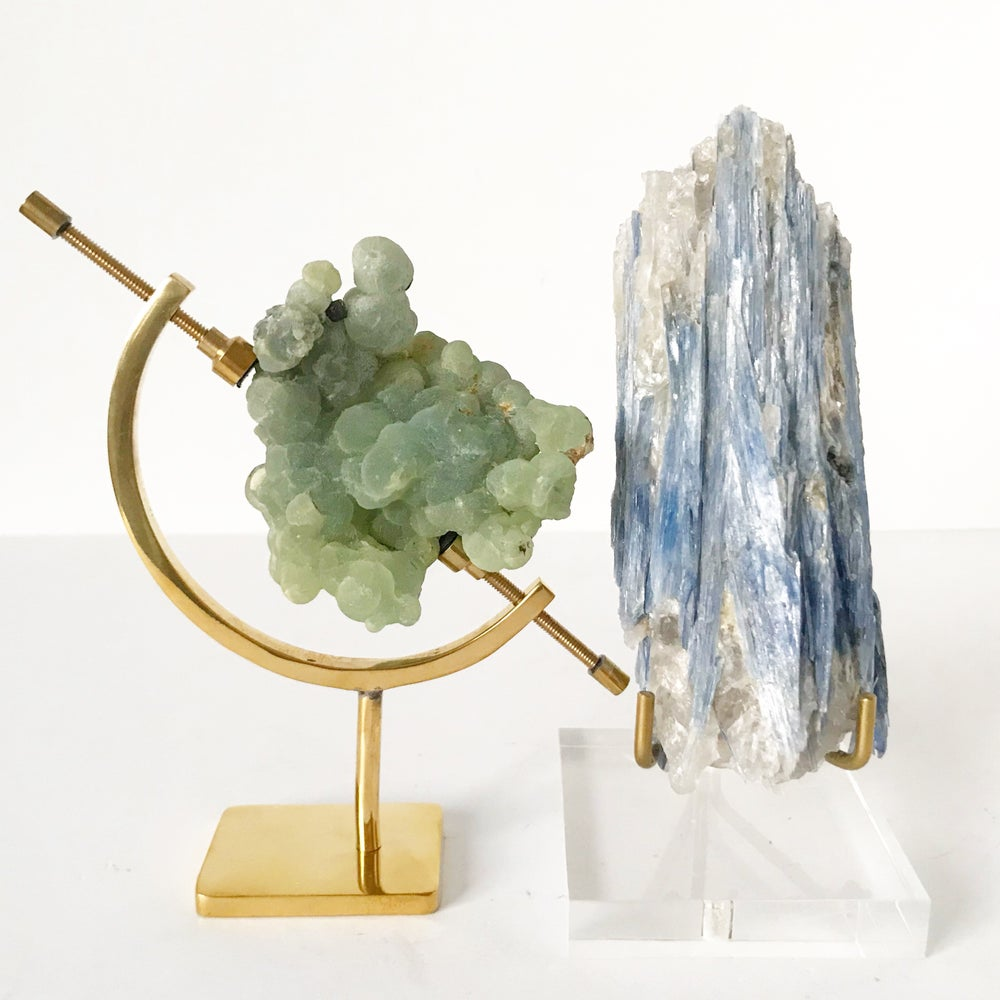 Image of Prehnite Botryoidal no.07 + Brass Arc Stand