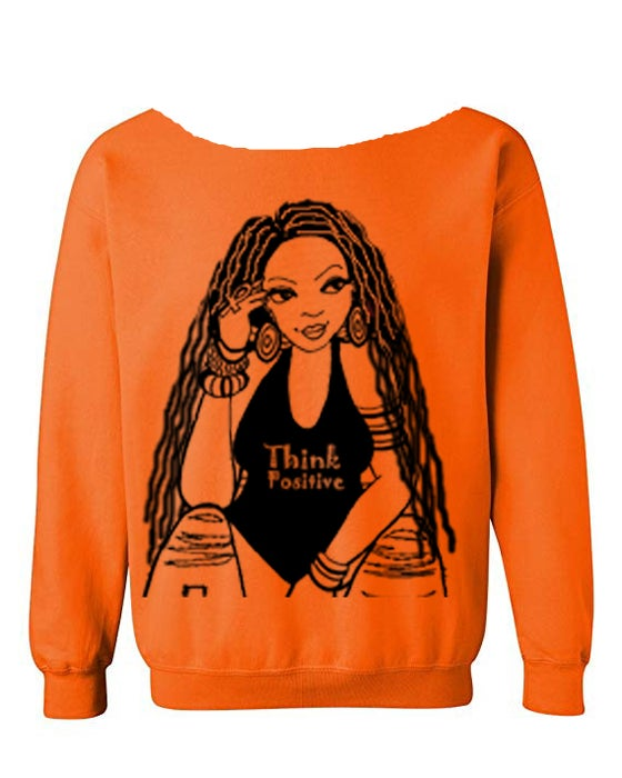"""Image of THE """"THINK POSITIVE"""" WIDE SCOOP NECK W/LOCS in Orange"""