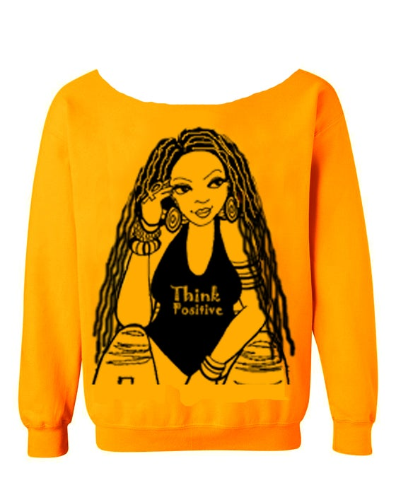 """Image of THE """"THINK POSITIVE"""" WIDE SCOOP NECK W/LOCS in Yellow Gold"""