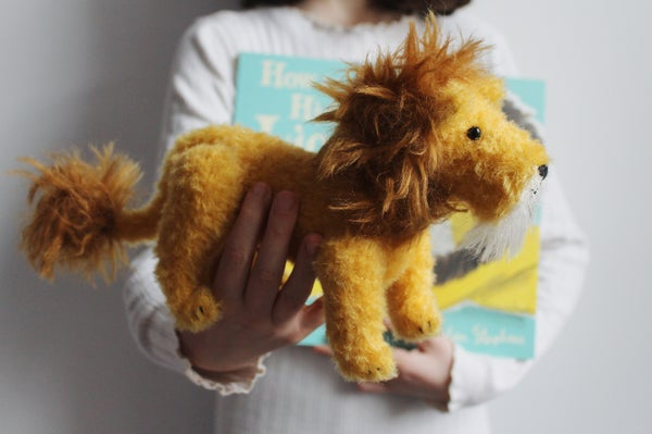 Image of Heirloom Toy Lion with signed How to Hide a Lion book