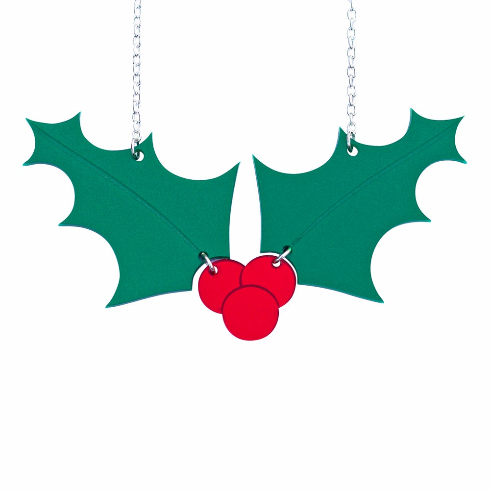 Image of Holly Leaf and Berries Necklace