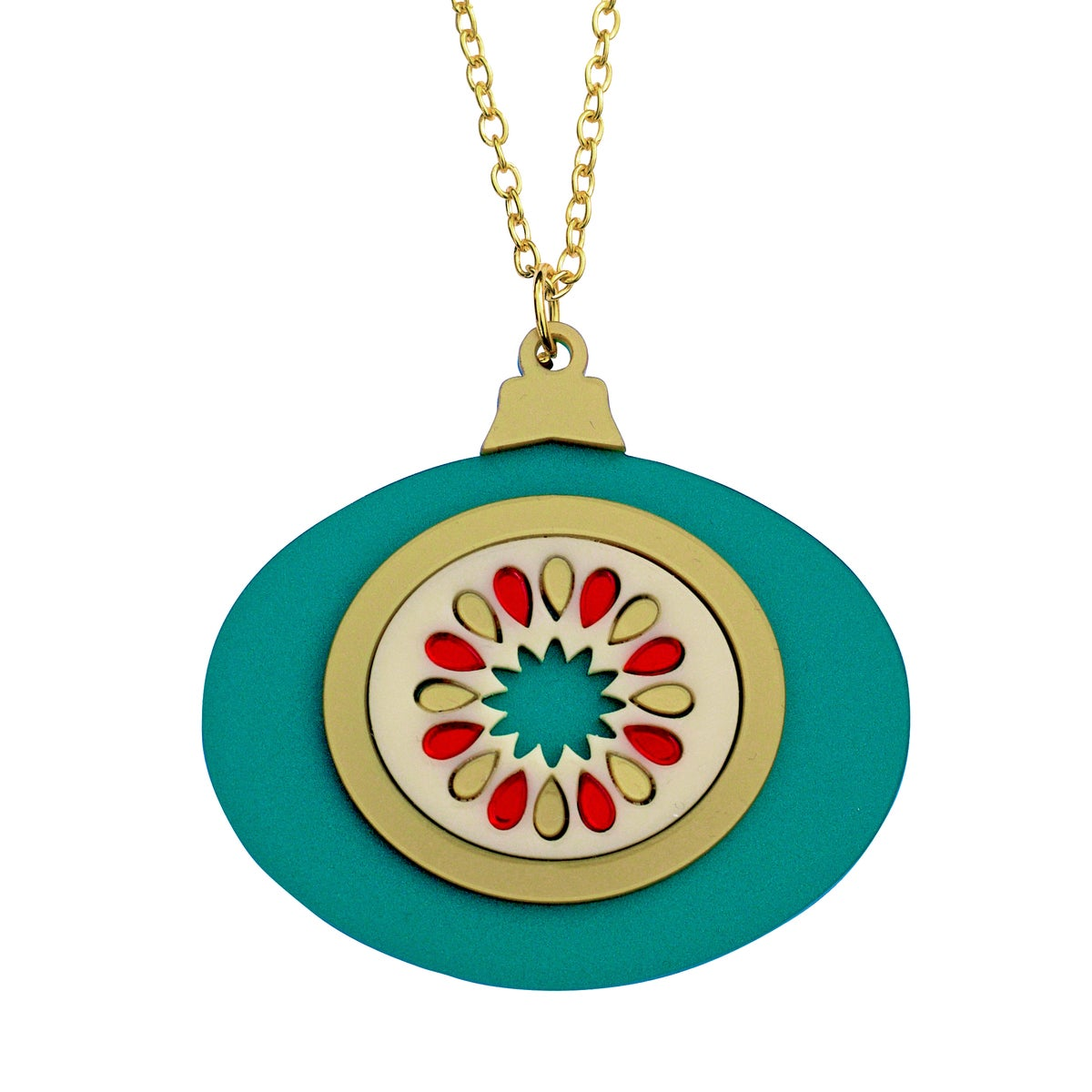 Image of Mid Century Modern Gold and Green Bauble Pendant Necklace
