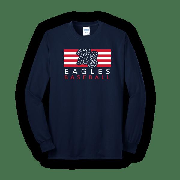 Image of Adult Eagles Flag Long Sleeve Tee