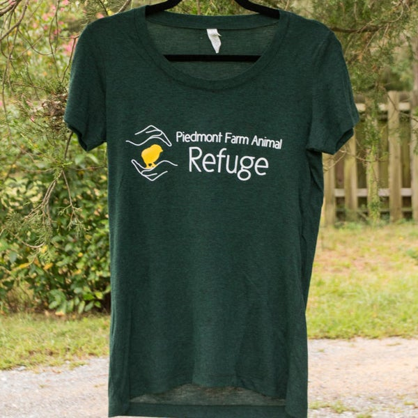 Image of Women | short sleeve, dark heather green, Refuge logo