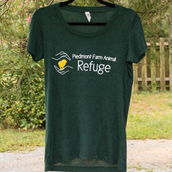 Image of Refuge Logo Women's T-Shirt (Dark Heather Green)