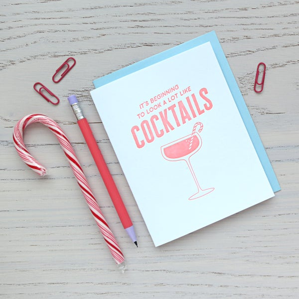 Image of cocktails holiday letterpress card - christmas drinks card