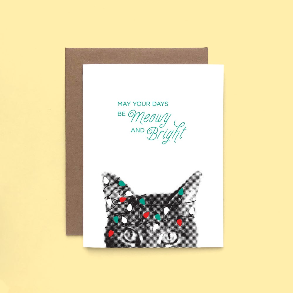 Image of gee whiskers series: meowy and bright letterpress greeting card - holiday cat - christmas kitty