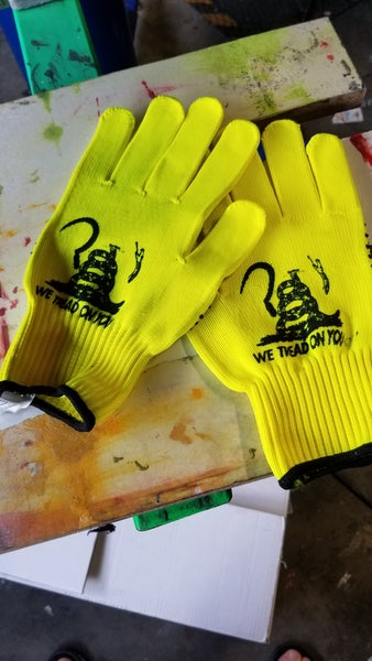 Image of We tread on you gloves
