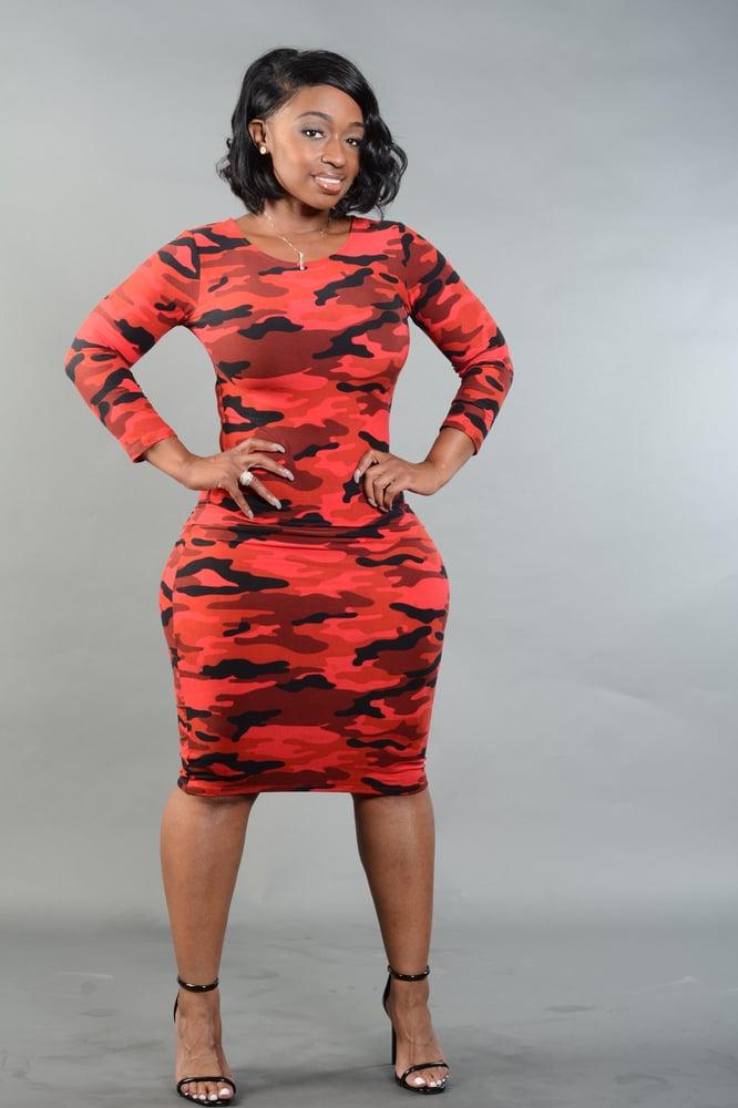 Image of Red Camo Dress