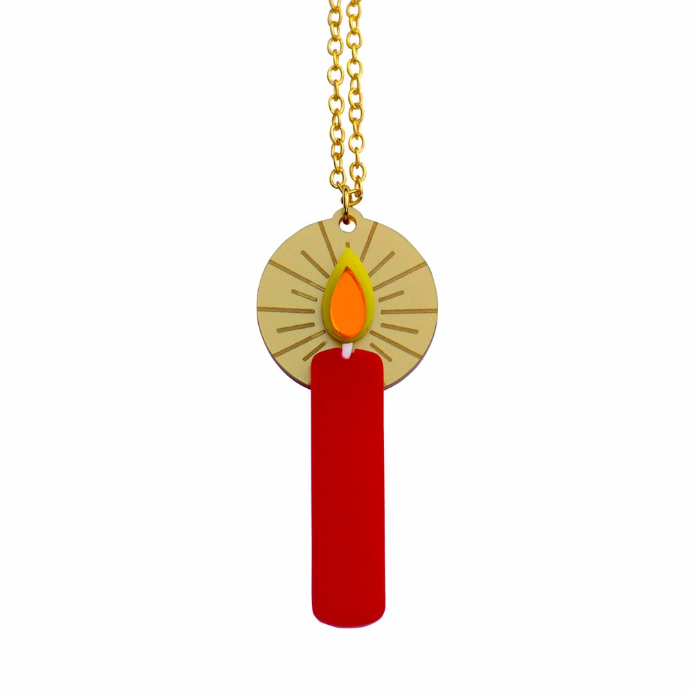 Image of Retro Advent Candle Pendant Necklace